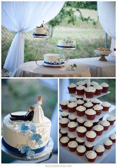 Cake and cupcakes from Michelle Marie's Patisserie! Robertson Estate Wedding, Sebastapol Wedding Photographer, Reece & Katrina Photographers, Soccer themed Wedding, Manchester United, Persian Wedding