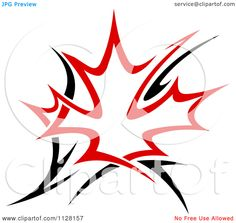 Clipart Of A Black And Red Tribal Maple Leaf 5 - Royalty Free ...