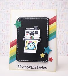 Lawn Fawn - #awesome + coordinating dies, Science of Love, Puffy Star Stackables dies, Stitched Journaling Card die _  cute interactive birthday Polaroid card by Yainea for Lawn Fawn Design Team, via Flickr