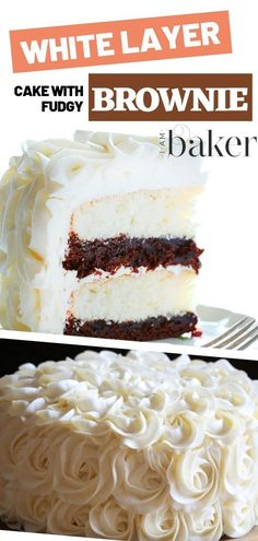 A White Layer Cake recipe suited for any occasion! This white Layer Cake has Brownie layers perfectly complimenting the white cake topped with attractive buttercream rosette. This is a flawless cake for a memorable party! Save this helpful pin!