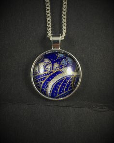 Japanese Washi Glass Cabochon Pendant Necklace Blue Silver Flowers by ManabizzleCreations on Etsy