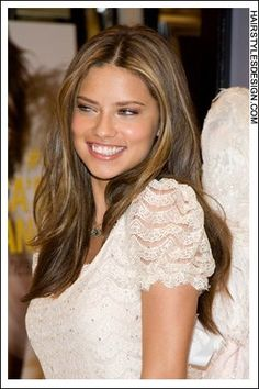 Adriana Lima light brown hair. Love the color