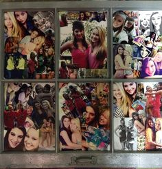 An old window that has been spray painted and pictures have been glued on it to make a collage..great gift for best friends or family members!