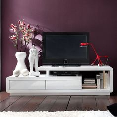 Celia High Gloss Plasma Tv Unit In White With Two Drawers£300 Finf