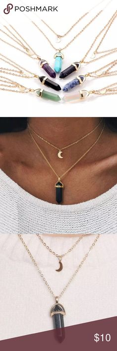 Double Layer Necklace w/Moon and Stone Pendant Beautiful little gold necklace, lovely boho look. Short chain is almost choker length w/little gold moon pendant, longer chain has stone pendant. Listing is for one necklace, choose:  midnight blue metallic, sky blue turquoise, purple amethyst, green jade or black.  Chain is 45cm + 5cm extended, stone is 8mm W x 33mm L ❤💕❣️         ❌ PRICE IS FIRM                                                           💟 Bundle for discount, 15% off 2+ items…