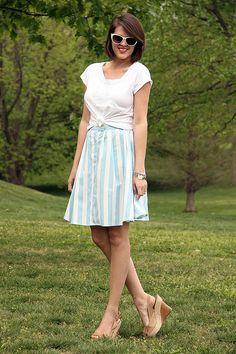 Skirt - Blue and white stripes