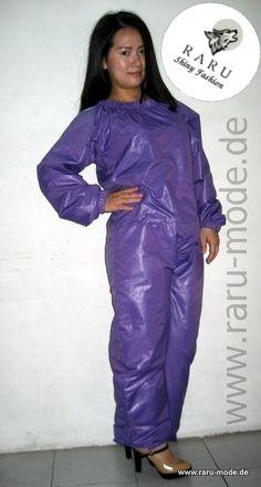 RARU Nylon Anzug Overall im Wet-Look maßgeschneidert