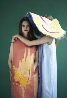 _FAUNA+FLORA_ print:devika rattu_ dress:sofia ilmonen_ photographer:kasia wozniak_ models:sophia at select and katharina at M+P_