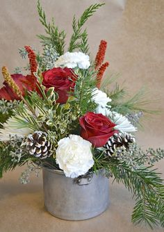 Christmas arrangements in tin cup Winter Floral Arrangements, Christmas Flower Arrangements, Christmas Centerpieces, Xmas Decorations, Christmas Candles, Christmas Flowers, Christmas Wreaths, Advent Wreaths, Christmas Floral Designs