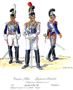 Westphalia; 2nd Cuirassiers, Major, Marechal des Logis Chef & Cuirassier 1810-13