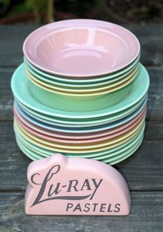 Vintage Lu-Ray Pastels Butter Plates and Berry Bowls - Set of 17 Pieces, via Etsy.
