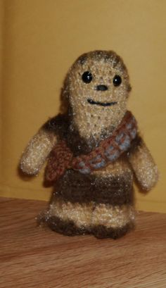 """Handmade Crocheted Amigurumi Star Wars Chewbacca 5 1/4"""" Tall by The Knitting Gnome.. Cute Little Fellow by TheKnittingGnomeVT on Etsy"""