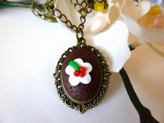 Christmas Necklace - Xmas Pudding on Bronze Chain  £10.00