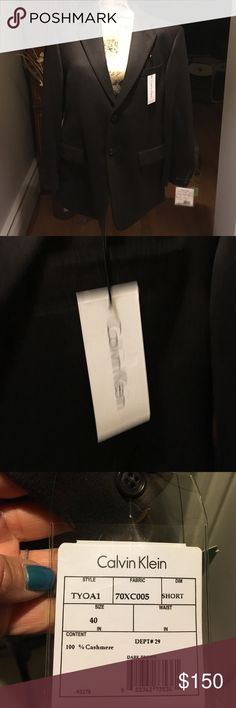 Mens Calvin Klein cashmere blazer Beautiful 100% cashmere Calvin Klein men's blazer, size 40 short, deep brown color Calvin Klein Jackets & Coats Blazers