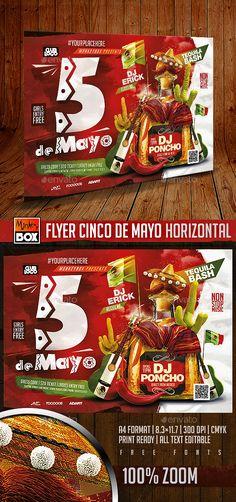 Flyer Cinco de Mayo Horizontal Flyer Template PSD. Download here: http://graphicriver.net/item/flyer-cinco-de-mayo-horizontal/15815451?ref=ksioks