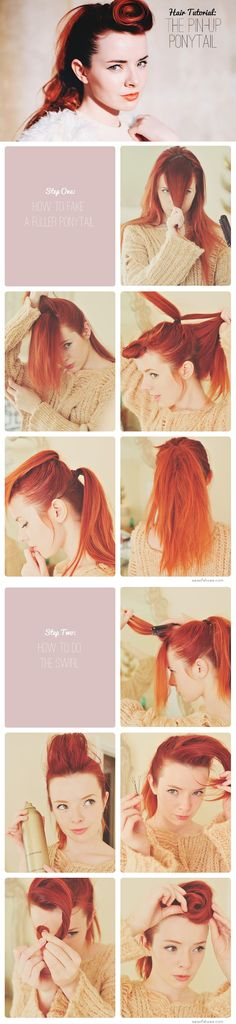 DIY Hairstyle   Easy to Do Pin-Up Ponytail   Step-By-Step Tutorial