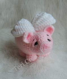 Pig With Wings Crochet Pattern by Teri Crews by TCrewsDesigns
