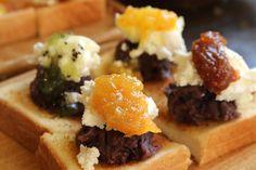 コーヒーハウスかこ 花車本店   モーニングメニュー: さっくりとしたトーストにバター、4種類のコンフィチュールをベースに、クリームチーズや生クリームをトッピング   名古屋市営地下鉄 桜通線 国際センター駅