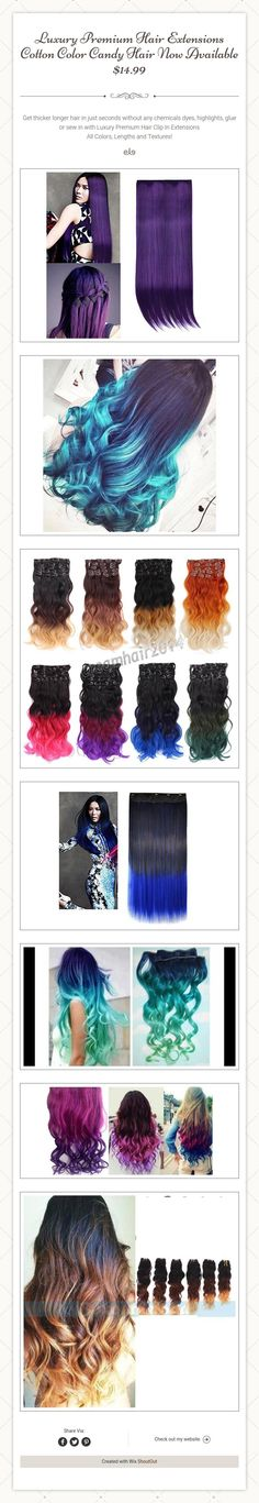 Luxury Premium Hair Extensions Cotton Color Candy Hair Now Available  $14.99