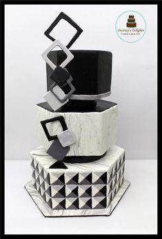 Optical Illusion- 50 cakes of gray Around the world in Sugar collaboration - cake by Anshalica Miles -Destiny's Delights Custom Cakes Jewel Cake, Elegant Birthday Cakes, Elegant Cakes, Cakes For Men, Just Cakes, Fondant Cake Designs, Geometric Cake, 50th Cake, Patterned Cake