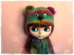 BLYTHE Pullip SD SD Bear Hat/Helmet Crochet Fluffy