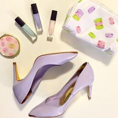 """Ted Baker Purple and Rose Gold Heels ❗️Reduced from $85❗️Authentic Ted Baker """"Monirra"""" pointed leather court shows. Current style still in stores at full price. Pastel toned patent leather in a stunning light purple color with rose gold accents. Cushioned insole, mid height heel (approx 3""""), metallic toe cap and round logo at heel. Leather lining, resin sole. Excellent condition, minor signs of wear to sole. Size 6, true to size. Doesn't include box but will be shipped with care.❌No…"""