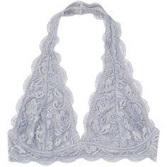 Pure Style Girlfriends Gray Lace Plunge Halter Bralette ($15) ❤ liked on Polyvore featuring intimates, bras, underwear, halter neck bra, lace halter bra, halter top, wireless bras and halter bra