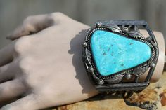 Huge Vintage Navajo Sterling Silver Stormy Mountain Turquoise Bracelet Ben Chapo | eBay