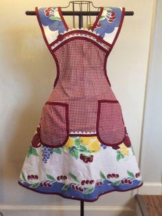 Full apron, vintage table cloth, cherries, gingham by RetroapronsByTeresa on Etsy https://www.etsy.com/listing/550321394/full-apron-vintage-table-cloth-cherries
