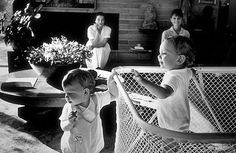 Bob Willoughby photographs his wife Dorothy and Audrey Hepburn with their sons, Christopher Willoughby and Sean Ferrer, at his home in 1961.