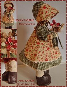 Holly Hobbie projeto Holly Hobbie, Raggy Dolls, Sewing Projects, Projects To Try, Doll Dress Patterns, Sarah Kay, Button Crafts, Fabric Dolls, Handmade Toys