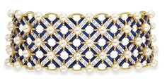 AN EXQUISITE DIAMOND, CULTURED PEARL, AND LAPIS LAZULI CHOKER NECKLACE, BY JEAN SCHLUMBERGER, TIFFANY & CO.  Designed as a wide flexible lapis lazuli and circular-cut diamond latticework band, each intersection set with a cultured pearl, to the scalloped gold trim, joined by a lapis lazuli clasp decorated with three circular-cut diamond bows, mounted in 18k gold and platinum, 13 ins., with French assay marks, in a Tiffany & Co. black suede fitted case  Signed Tiffany & Co., Schlumberger…