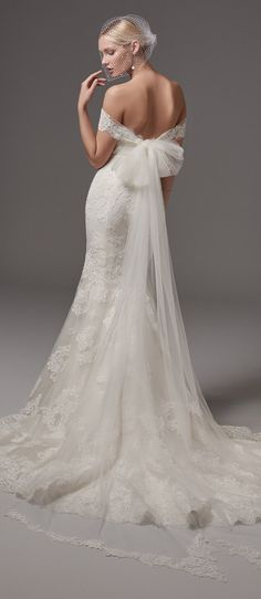 Sottero and Midgley 2017 Wedding Dress   This fit-and-flare features elegant lace motifs, a sweetheart neckline, and a striking hem. @maggiesottero #sotteroandmidgley #midgleybride
