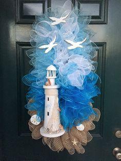 Lighthouse swag.. Deco mesh wreath Beachy, blues, seagulls , https://www.facebook.com/ggsdecos/
