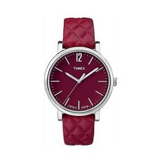 Women's Timex Watch with Quilted Leather Strap and Case - Silver/Red (€49) ❤ liked on Polyvore featuring jewelry, watches, red, silver jewelry, red jewelry, slim watches, timex and polish jewelry