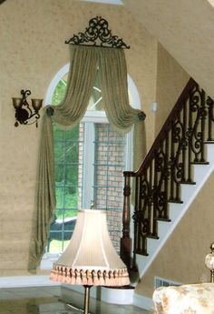 Window Treatments Create this look for your arched window with the Servena Window Crown and post tie Arched Window Treatments, Arched Windows, Window Coverings, Drapery Designs, Drapery Ideas, Rideaux Design, Cama Box, Interior Decorating, Interior Design