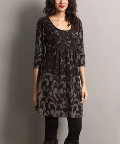 Loving this Black Floral Empire-Waist Tunic on #zulily! #zulilyfinds