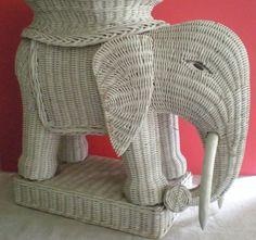Vintage Wicker Elephant Table with Tray Top by... | Wicker Blog  www.wickerparadise.com