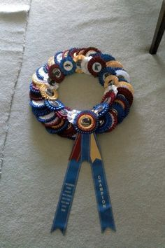 Show Ribbon Wreath, great idea for all my show ribbons!