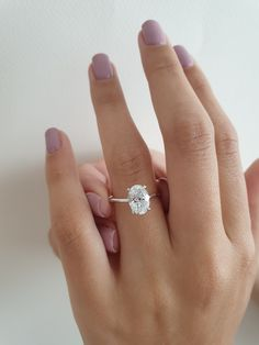 A beautiful elongated shape. carat oval diamond in our thin solitaire white gold band. Oval Engagement, Beautiful Engagement Rings, Diamond Engagement Rings, Engagement Ring Settings, Oval Diamond, Solitaire Diamond, Diamond Rings, The Bling Ring, No Rain