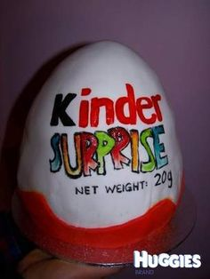 A Cake decorated as the kinder surprise chocolate... a favourite amongst many, not just kids!