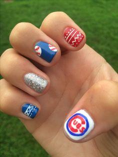 Chicago Cubs nail art #gocubs #cubsnails #chicagocubs