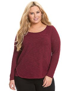 Luxe hacci knit top takes on a fresh, feminine vibe with lace trim at the sides. Long sleeves, scoop neck and faux chest pocket. Semi-sheer, lightweight knit layers beautifully over your favorite cami.  lanebryant.com
