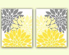 "Flower Bursts Blossoms Botanical Printable Art 2 -8"" x 10"" // Grey and Yellow // Digital Fine Art Modern Wall Art Set Prints Home Decor(49)"