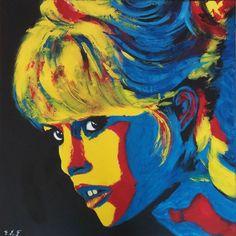 Brigitte Bardot (Painting),  80x80 cm par Emmanuelle Menny Fleuridas BB – Acrylique sur toile – 80 x 80 cm – toile 3D – bords peints en noir - Artiste Peintre : Emmanuelle Menny Fleuridas