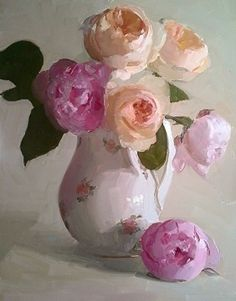 """Juliet and Peonies by Dennis Perrin Oil ~ 18"""" x 14"""""""