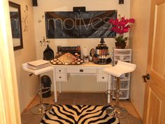 Working on making my Motives makeup room look something like this in black and white. Makeup Studio, Beauty Studio, Woman Cave, Lady Cave, Girl Cave, Makeup Bar, Makeup Ideas, Motives Makeup, Vintage Furniture