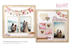 This project will show you how to create an elegant double page layout featuring pretty bunting. You will learn how to colour and stamp the Chipboard Hearts, and create your own matching Washi Tape. Scrapbooking Layouts, Scrapbook Cards, Wedding Themes, Wedding Ideas, Wedding Scrapbook, Page Layout, Diy Projects To Try, Wedding Bouquets, Create Your Own