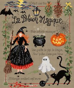 Reserved for Patsy - cross stitch pattern charm : La Potion Magique The Magic Potion Madame La Fee halloween