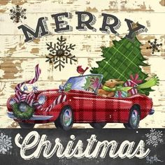 Christmas Plaid-Sports Car by Geoff Allen Tartan Christmas, Christmas Truck, Christmas Scenes, Christmas Clipart, Plaid Christmas, Vintage Christmas Cards, Country Christmas, Christmas Printables, Christmas Pictures